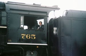 Fran on steam train 765
